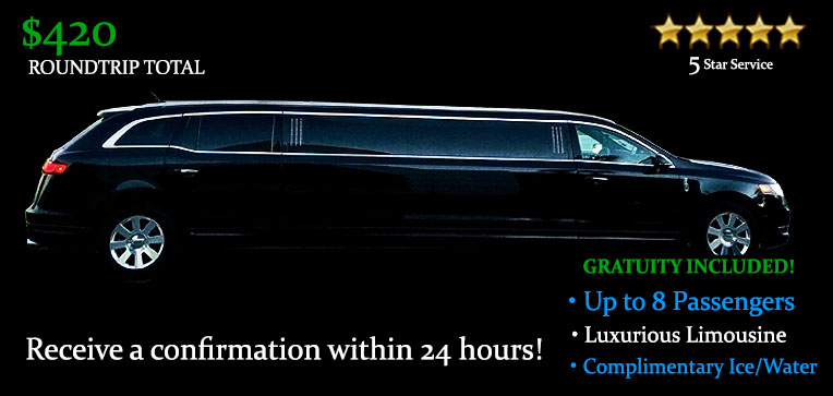 Book this Round-Trip Stretch Limousine Transfers - It's Only $420.00 TOTAL! Including Gratuity