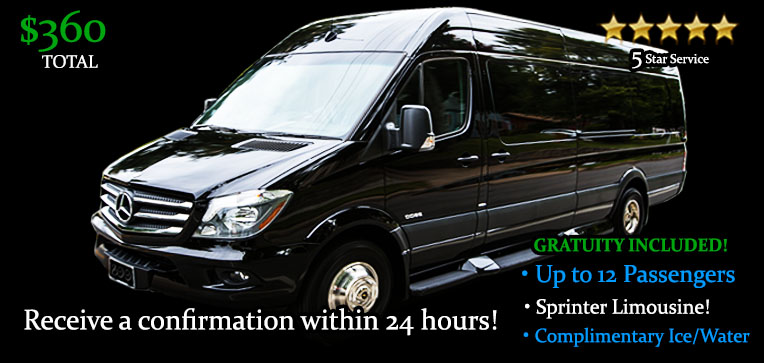 Book this One Way Sprinter Limousine Transfer - It's Only $720.00 TOTAL! Including Gratuity